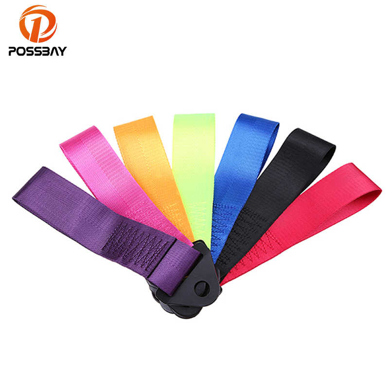 POSSBAY Black/Red/Deep Blue/Purple/Rose Red/Yellow/Green Universal Car Racing Recovery Tow Towing Strap Rope Bolt Hook Point