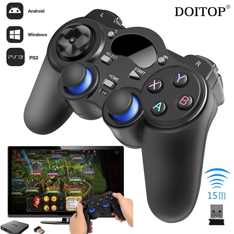 DOITOP 2.4G Wireless Game Gamepad Joystick Controller for PS3 TV Box Tablet PC GPD XD Android Windows 8/7/X With USB RF Receiver