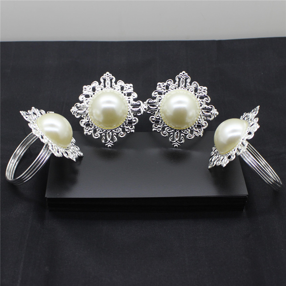 6X Dinner Banquet Faux Pearl Paper Napkin Ring Serviette Buckle Holder Wedding Birthday Date Anniversray Party Table Decoration