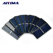 AIYIMA 10pcs Solar Panel Solars Cell 0.5V 220mA Photovoltaic Panel DIY Solar Battery Car Charger Power Bank China 55*22*3mm