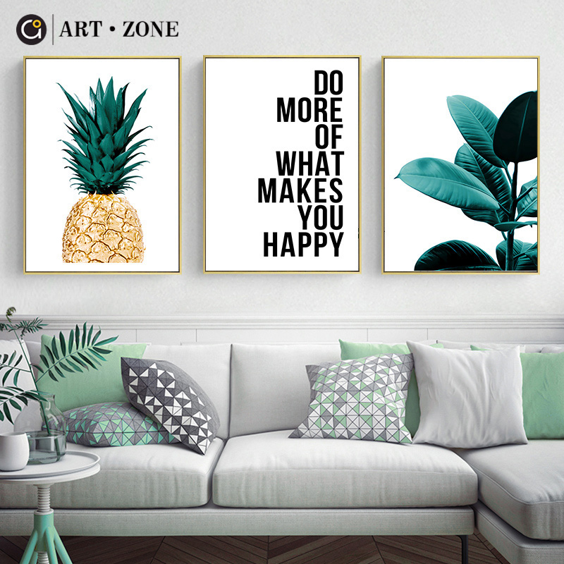 ART ZONE Pineapple Letters Leaves Art Print Poster Nordic Living Room Wall Art Painting Decor Poster Still Life Home Decor