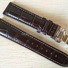 20 мм(Buckle18mm) T063617 T063639 T063610 высокое качество Серебряная Бабочка Пряжка+ коричневый Натуральная кожаные браслеты для часов с ремешком