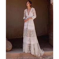 Cosmicchic Silk Embroidery Flower Maxi Dress Sexy Bohemian Beach Lace Dress Holiday Cardigan Outwear Amazing Supper Dresses