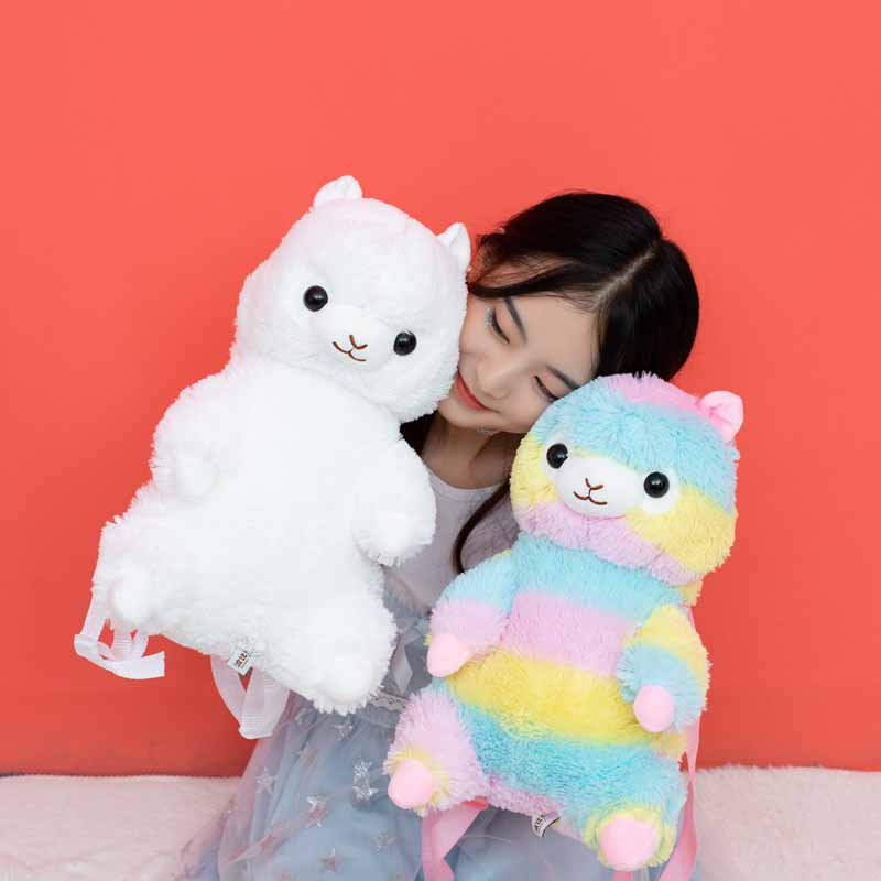 Nooer 40cm Kawaii Alpaca Plush Backpack Rainbow Alpaca Soft Doll Plush Shoulder Bag Birthday Children Kids Girls Gift