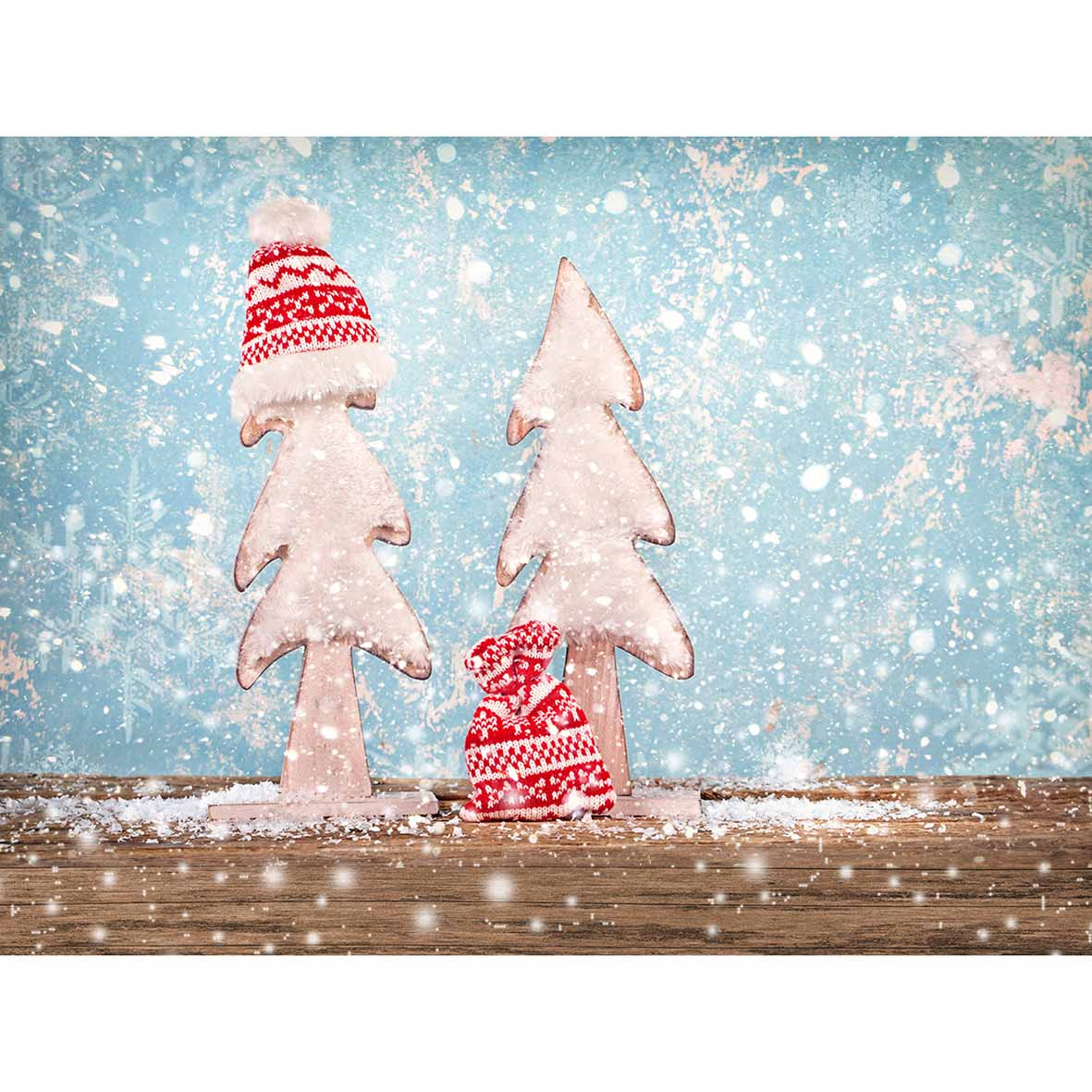 Allenjoy photography Christmas background snowflakes hat wooden ...