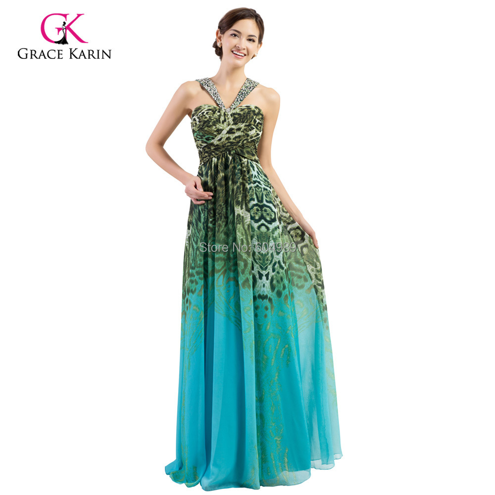 Grace Karin Blue Pattern Leopard Print Dress women Chiffon Padded ...