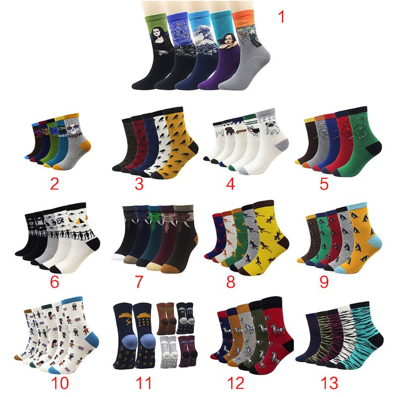 Independent 5 Pairs Men Boys Autumn Funny Novelty Long Crew Socks Famous Oil Painting Contrast Color Cute Animal Printed Cotton Hosiery Underwear & Sleepwears