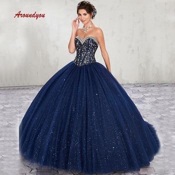 a2667818d9 De Lujo cristales vestidos Quinceanera vestido de tul azul marino de  Debutante dulce 16 vestido vestidos de 15 años