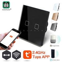 EU Standard 1 Way Wifi Remote Control Wall Light Controller Smart Home Automation Touch Switch Amazon Google Gome Tuya App