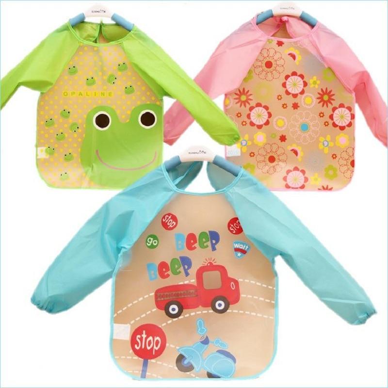 New Cute Baby Waterproof Cartoon Baby Toddler Waterproof Long Sleeve Children Feeding Smock Bib Apron Hot baby bib children bibs