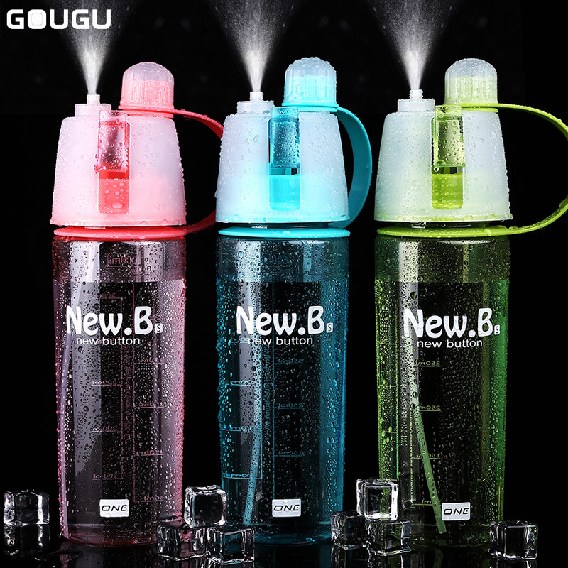 400ml/600ml Spray Water Bottle Sprayer Portable Outdoor Cycling Sports Bottle Space Pot Travel Nutrition Bottle