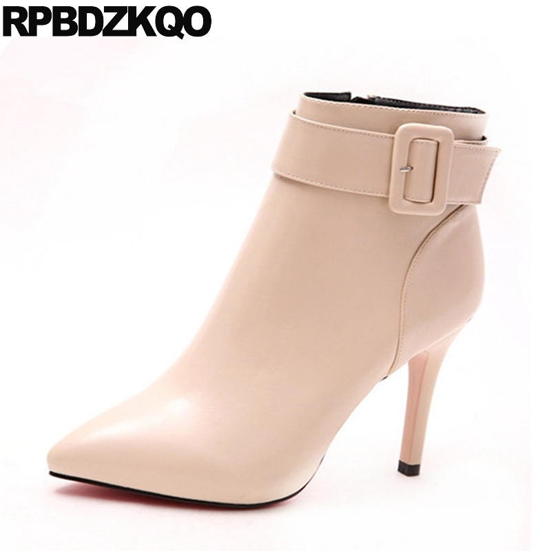 Ladies Shoes Side Zip Boots Big Brand Booties 2017 High Heel Pointed Toe Beige Sexy Autumn Short Stiletto Ankle Chinese New elegant beige high heel 2017 booties autumn chunky metal genuine leather luxury brand shoes women boots short ankle pointed toe