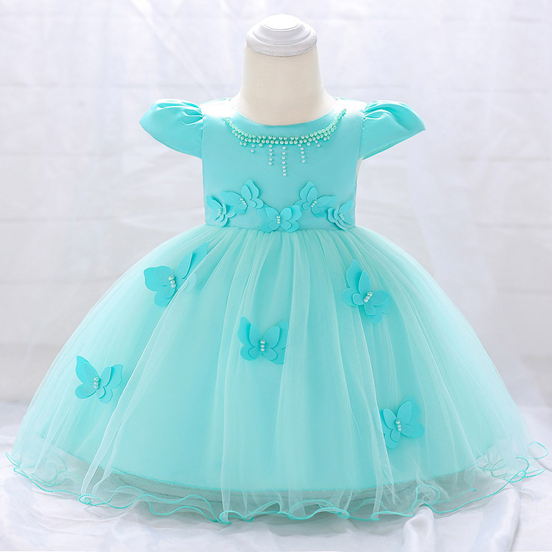 Baby Beading Costume Fluffy Clothing Newborn First Communion Flower Girls Party Dress Baptism Vestido  0-2 Years Pageant Dresses