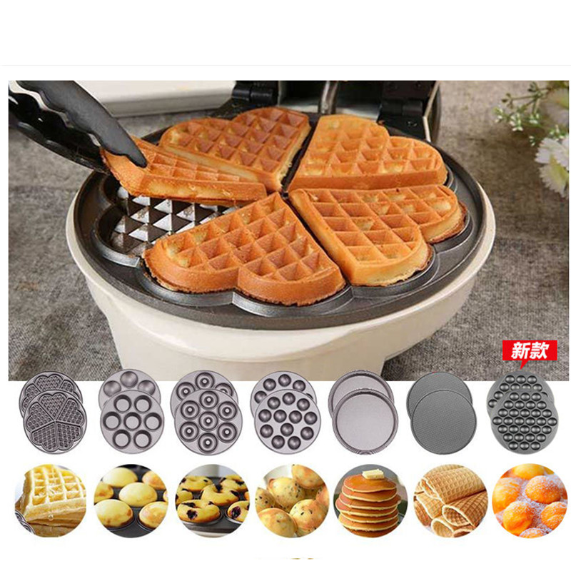 220V Full-automatic Multifunctional Household Electric Waffle Maker Egg Ball Maker Muffin Machine With 7 Optional Plates top quality new stainless steel strap 18mm 13mm flat straight end metal bracelet watch band silver gold watchband for brand
