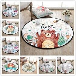 Cartoon Bear Round Carpet Hand Drawn animals Bee Bedroom Area Rug Non-Slip Floor Mats Kid's Living Room Crawling Play Mat circle