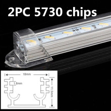 LED Bar Lights DC12V 5730 LED Rigid Strip LED Tube with U Aluminium Shell + PC Cover White Cold White Warm White 2pcs/lot