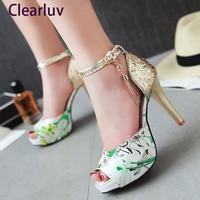 New fashion bridal wedding shoes flower print slip on pumps diamond embellished toe thin high heels party dress shoes woman