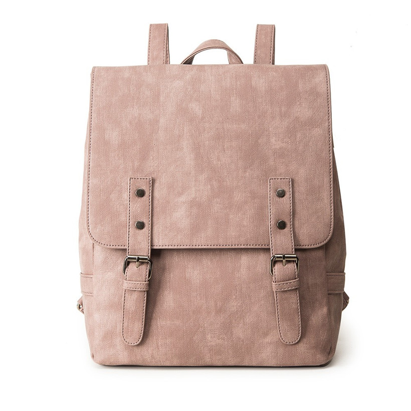 Women Backpack Simple Style School Bags For Teengaers Girls Famous Designer Solid Ladies High Quality Female Leather Backpacks