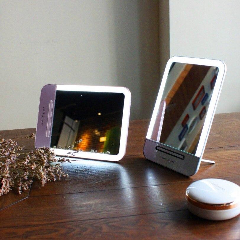 Genopladelig LED Kosmetisk Makeup Spejl Makeup Bærbar Nat Lys Bordlampe Make Up Spejl Lommeværktøj Med Bærepose