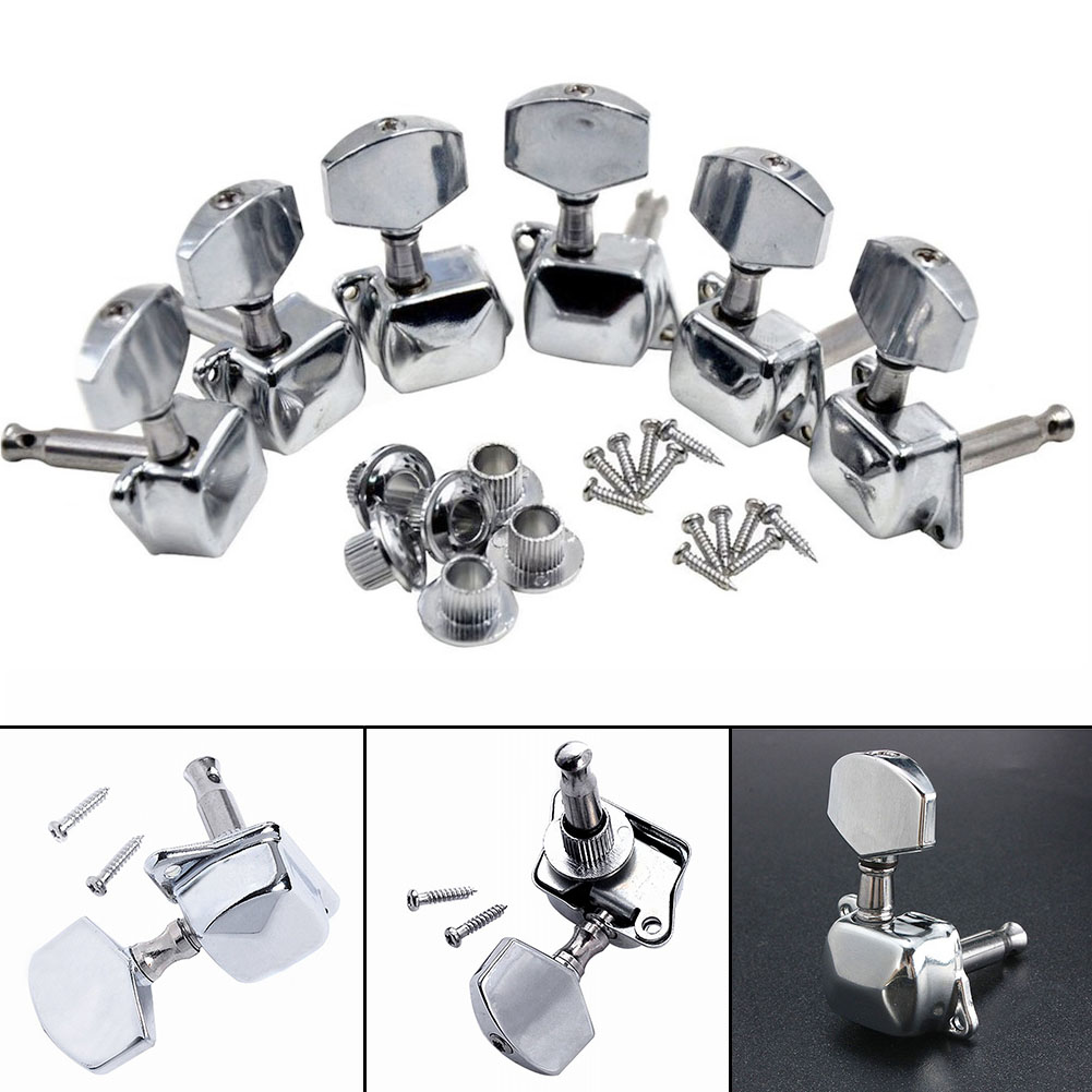 6Pcs/set Chrome Guitar Tuning Pegs Tuner Machine Heads Semiclosed 3L + 3R tuning peg machine head 6 pieces sliver acoustic guitar machine heads knobs guitar string tuning peg tuner 3 left and 3 right