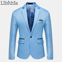 Men Casual Suit Blazers One Button Big Size M 6XL Red Pink Sky Blue Grey Black Navy Black B6