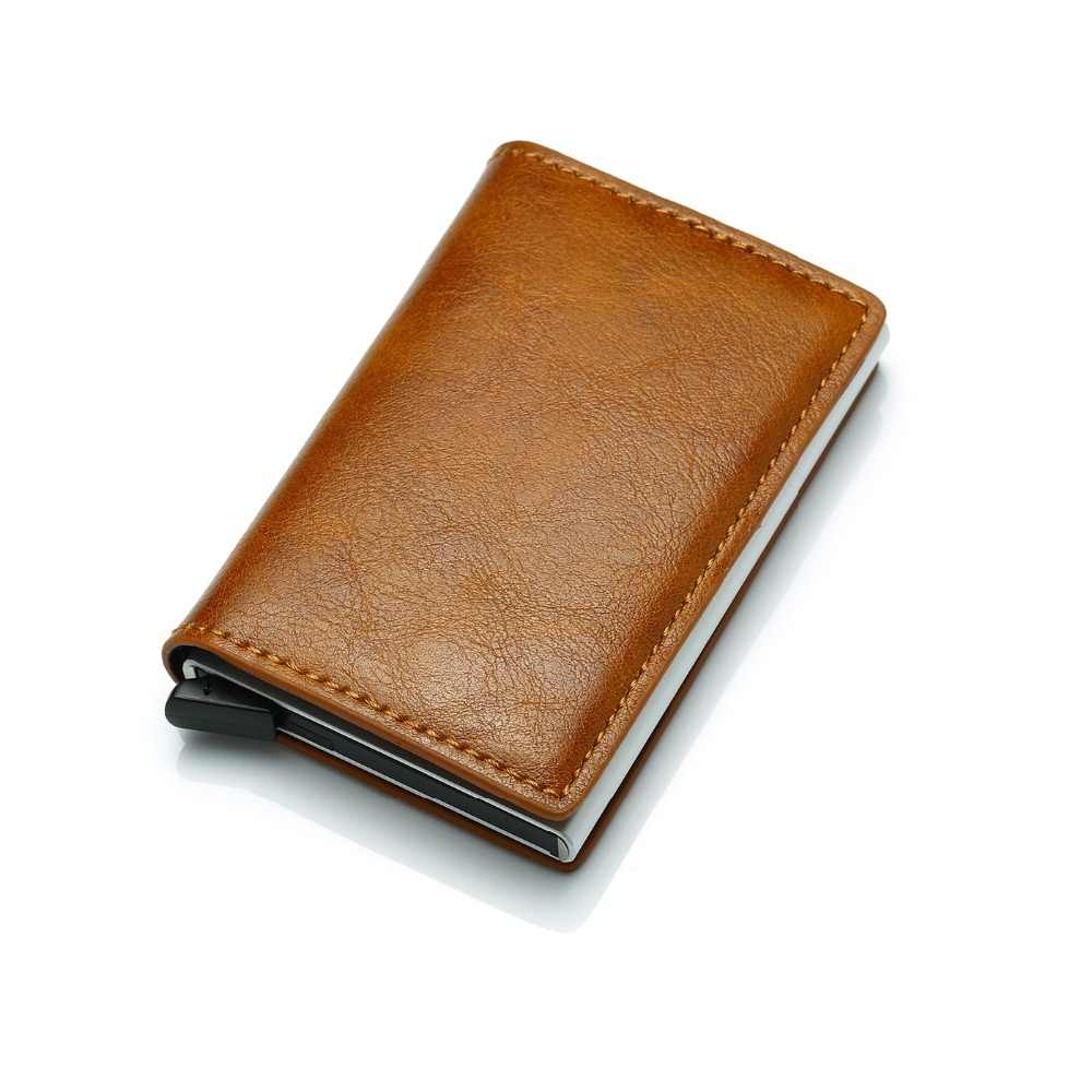 Rfid Blocking Safe Bank Card Case Genuine Leather Credit Card Wallet Holders Metallic Card & ID Holders For Men and Women