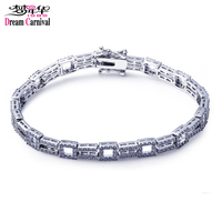 DreamCarnival 1989 Luxury Bracelets For Women Rhodium Color Link Chain Cubic Zirconia Wedding Jewelry Anniversary Gifts