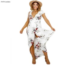 Summer dress 2017 floral womens short-sleeved slits long deep V-neck sexy party casual Bohemian
