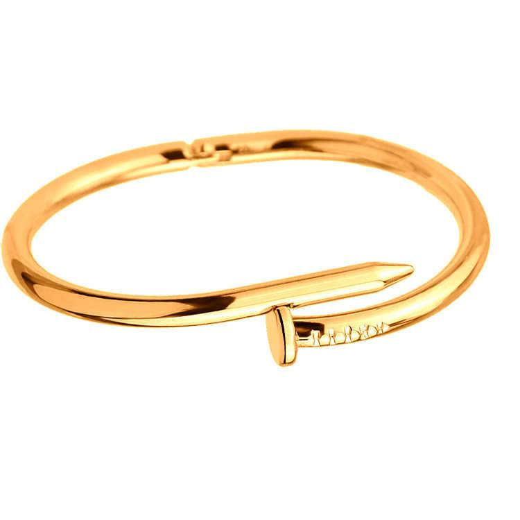 83deee2ec2f2 ... Tornillos brazalete de uñas Pulseras de cobre para mujer Pulsera de oro  joyería de acero inoxidable ...