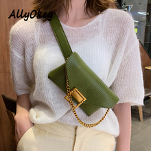 Fanny Pack Fashion Waist Bag Women Leather Famous Brand Belt Bags Chain Metal Buckle Square Phone Pocket N82