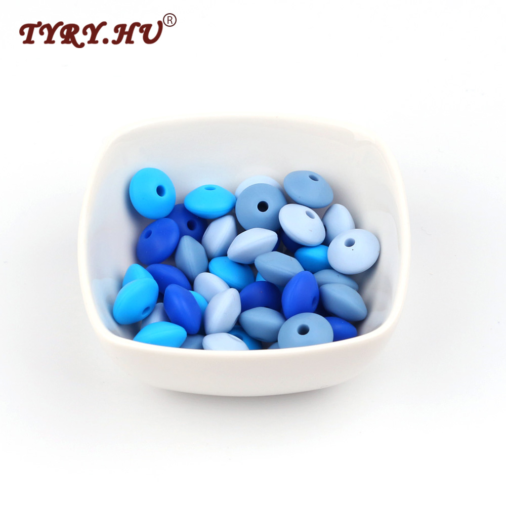100PC 12mm Silicone Lentil Abacus Loose Beads Baby Teething Teether Beads Gifts BPA Safe Nursing Chewing Bead For DIY Necklace