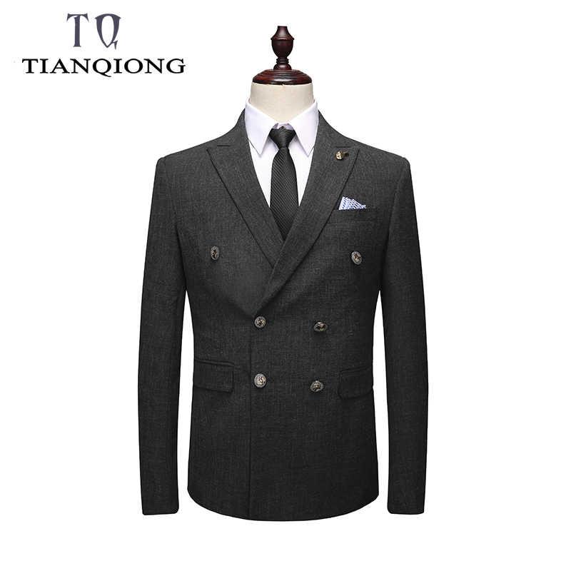 TIAN QIONG Double boutonnage costume hommes 3 pièce 2019 Slim Fit hommes costumes avec pantalon noir gris hommes d'affaires mariage marié costumes