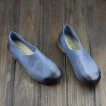 Women Shoes Slip on Ballerina Flats Authentic Leather Ladies Ballet Flats Shoes Female Footwear(056-1)