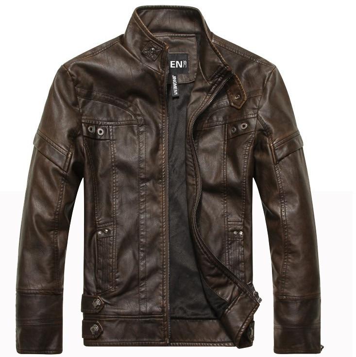 Новое поступление для мужчин Классические мотоциклетные кожаная куртка шайба PU Стенд воротник осень теплая, Jaqueta Couro Masculino курточка бомбер