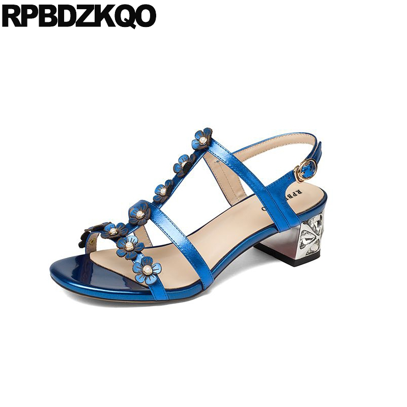 Diamond T Strap High Quality Shoes Chunky Blue Crystal Silver Low Heel Square Designer Sandals Women Luxury 2017 Flower Nice newest designer women s feather crystal t strap sandals high heel triple bands t strap women shoes woman size 34 42 drop sh