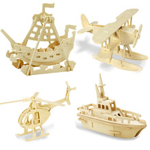 Creative DIY 3D Wooden Aircraft and ships Puzzle Game Children Kids Natural Toy Model Building Kits Educational Hobbies Gift(China)