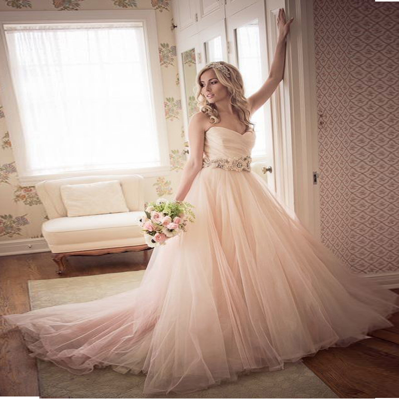 Ball gown wedding dresses 2017 floor length sweetheart for Tulle skirt wedding dresses