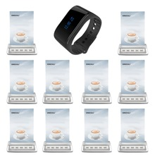 SINGCALL wireless calling system restaurant buzzer systems 1 waterproof wrist watch receiver and 10 table call buttons