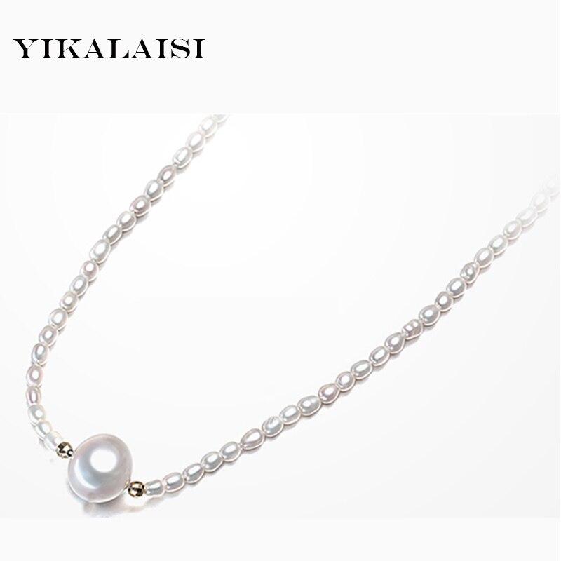 81253d06a72c Yikalaisi 2017 collar de perlas 100% collar de perlas de agua dulce blanco  natural para mujer gota amantes COLLAR COLGANTE mejor regalo