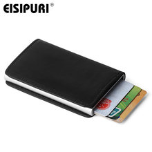 Male Metal Card Holder RFID Aluminium Alloy Credit Card Holder PU Leather Wallet Antitheft Men Automatic Pop Up RFID Wallet(China)