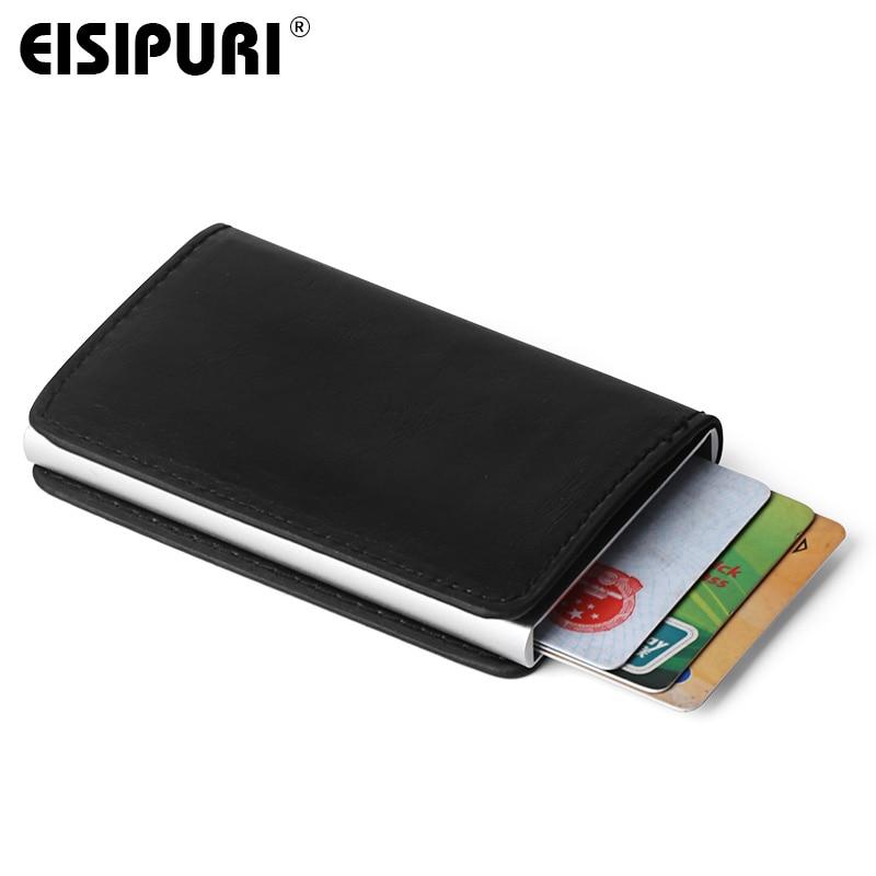 af49bbba4ad Masculino Titular Do Cartão de RFID de Metal Liga de Alumínio Titular do  Cartão de Crédito PU Carteira de Couro Dos Homens Pop Up Automático RFID  Antifurto ...