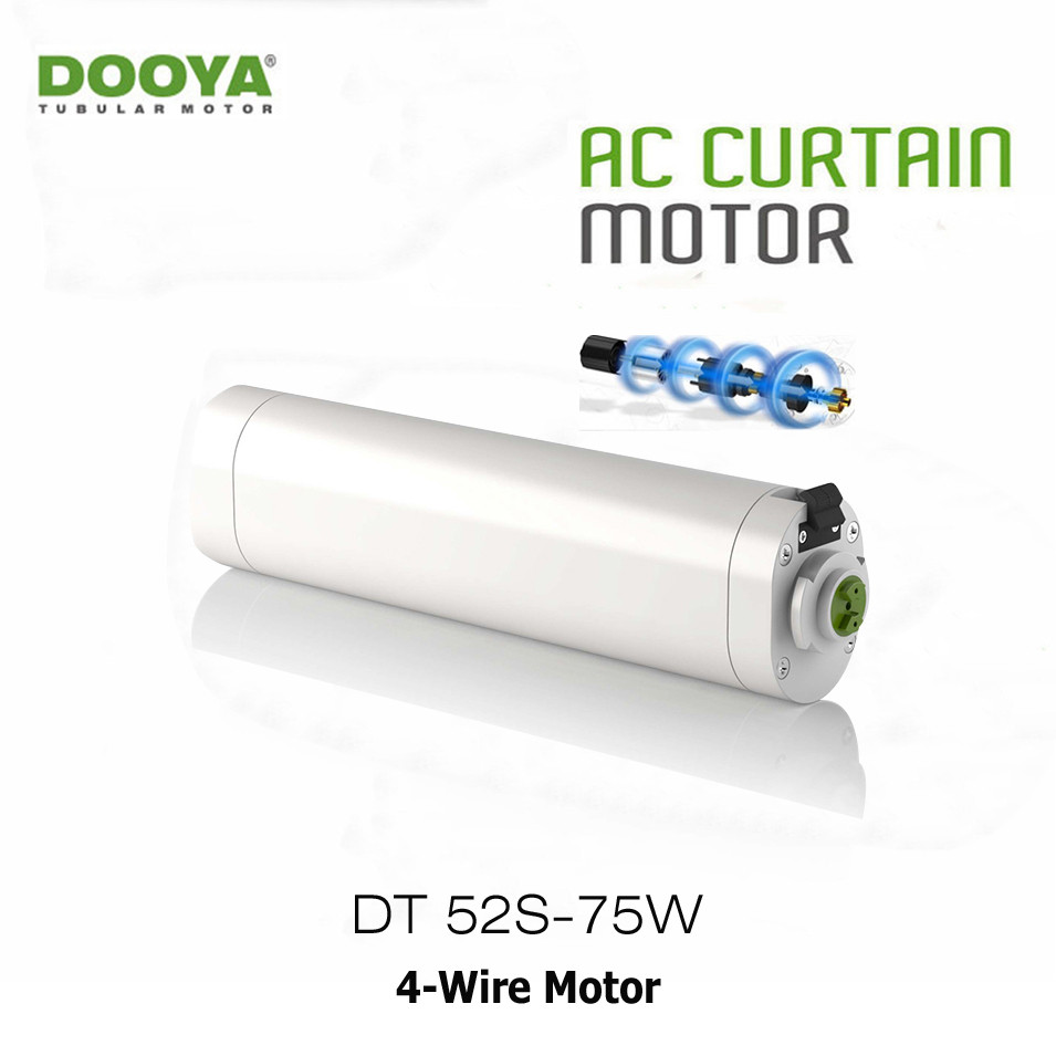 Moteur électrique de rideau de Dooya DT52S, moteur fort motorisé par maison intelligente de 75 W 4 fils, travail avec les contrôleurs de Fibaro et le réseau de Fibaro