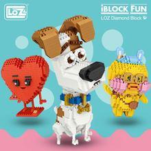 LOZ Diamond Blocks Cute Toys Building Blocks Figures Plastic Assembly Toys Educational Smile Love Stool Cartoon Dog Animals DIY