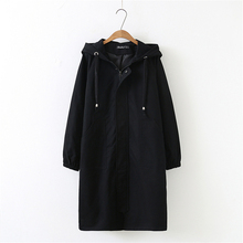 2020 New Korean Plus Size Spring Autumn Long Trench Coats Casual Over Knee Hoode