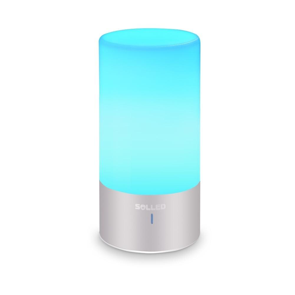 AKDSteel LED lampe de Table capteur tactile lampe de chevet Dimmable lumière blanche chaude et 256 RGB couleur changeante en aluminium Base lampe de bureau