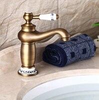 Antique Brass Basin Faucet Bathroom Taps Vintage Bath Mixer Water Tap Sink Basin Tap