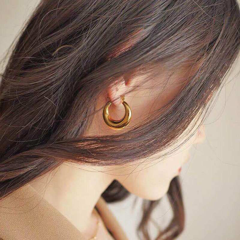 SRCOI Retro Simple Design Gold Color Metal Geometric Irregular Round Hollow Circle Hoop Earrings Women Wedding Party Jewelry