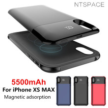 NTSPACE Wireless Magnetic Power Bank Charging Cases for iPhone XS MAX Case 5500mAh External Battery Charger