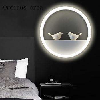 Nordic creative modern minimalist wall lamp European style background wall living room bedroom children's room lamp Postage free