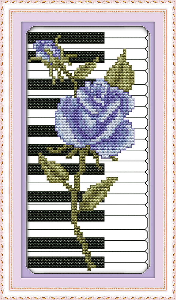 Electronic Components & Supplies Honesty Rose Piano Purple Flower Canvas Dmc Cross Stitch Kits 100% Accurate Printed Embroidery Diy Handmade Needle Work Wall Home Decor To Be Highly Praised And Appreciated By The Consuming Public
